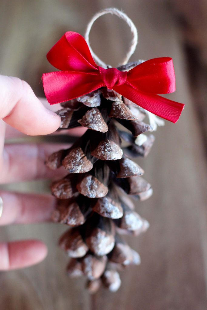 simple pinecone ornament with ribbon