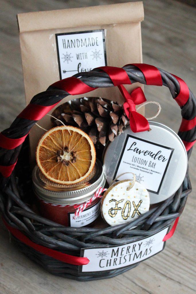 decorating a gift basket